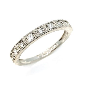 14 Karat White Gold Filigree and Diamond Band