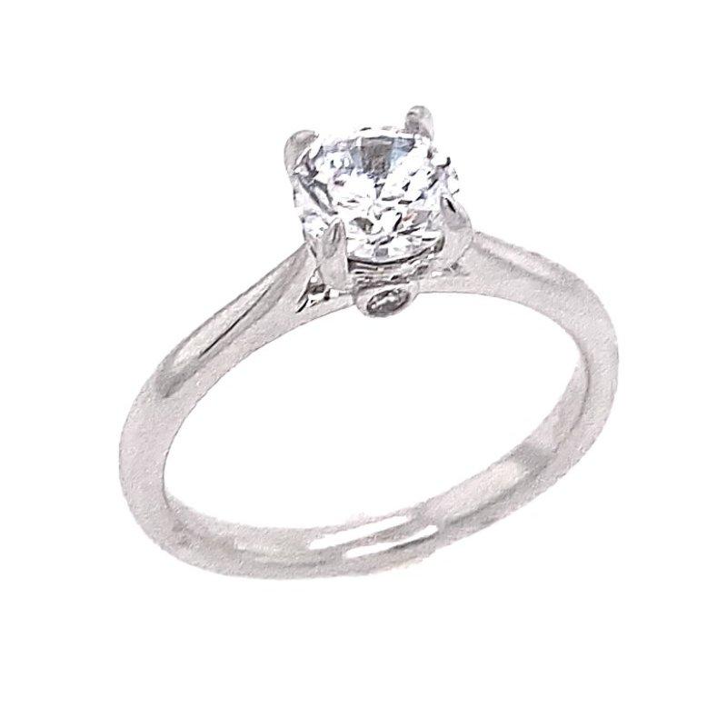 White Polished 14 Karat Solitaire Ring