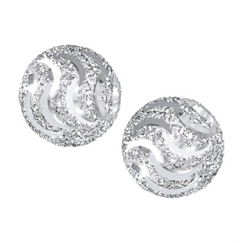 6 mm Sterling Silver Diamond Cut Ball Stud Earrings