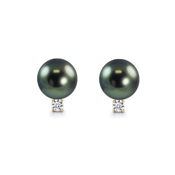 11mm Tahitian Pearl and Diamond Stud