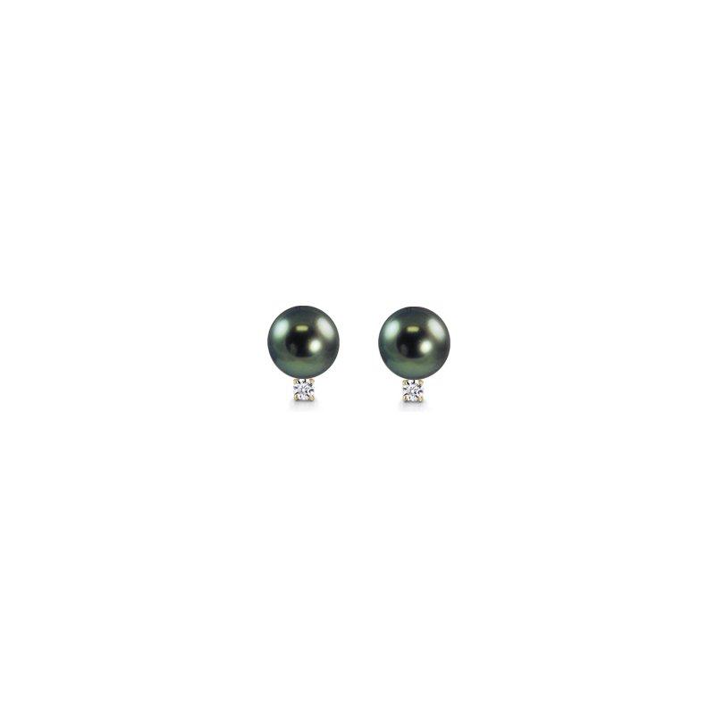 11mm Tahitian Pearl and Diamond Stud