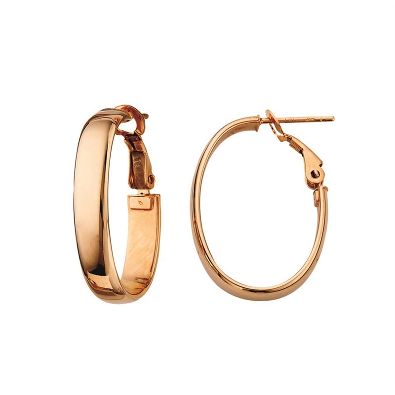 Rose Gold Oval Medium Hoops