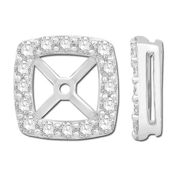 White Polished 14 Karat Square Earring Jackets