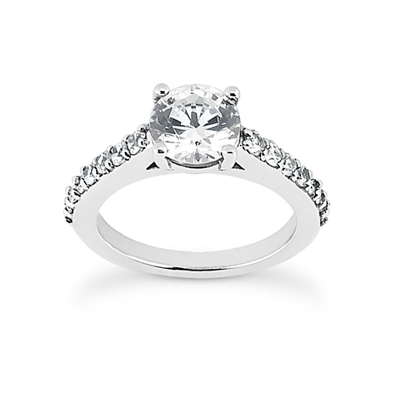 Engagement ring with diamonds set shoulder mounting