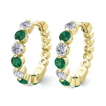 14 kt Yellow Gold Emerald and Diamond Huggie Earrings