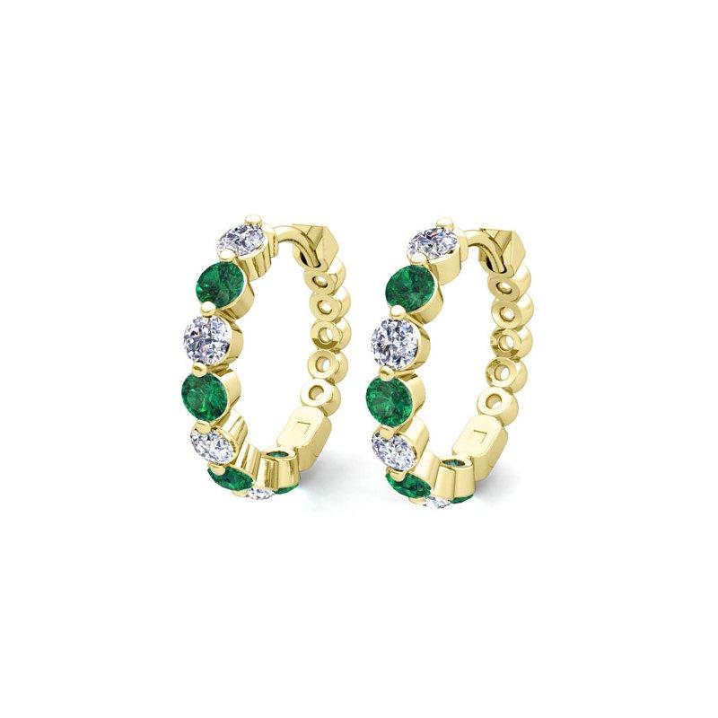 14 kt Yellow Gold Emerald and Diamond Huggie Earrings
