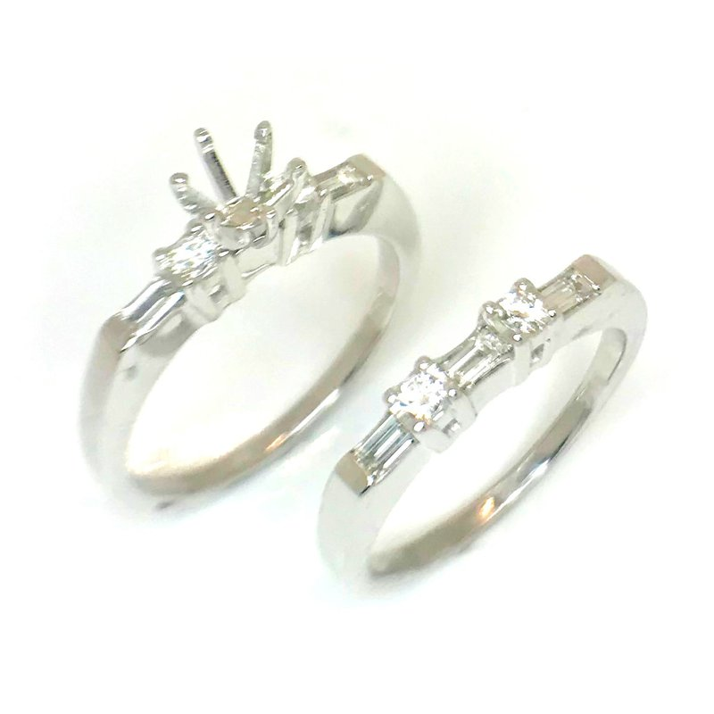 14kt White Gold Rings with Baguette and Round Diamonds