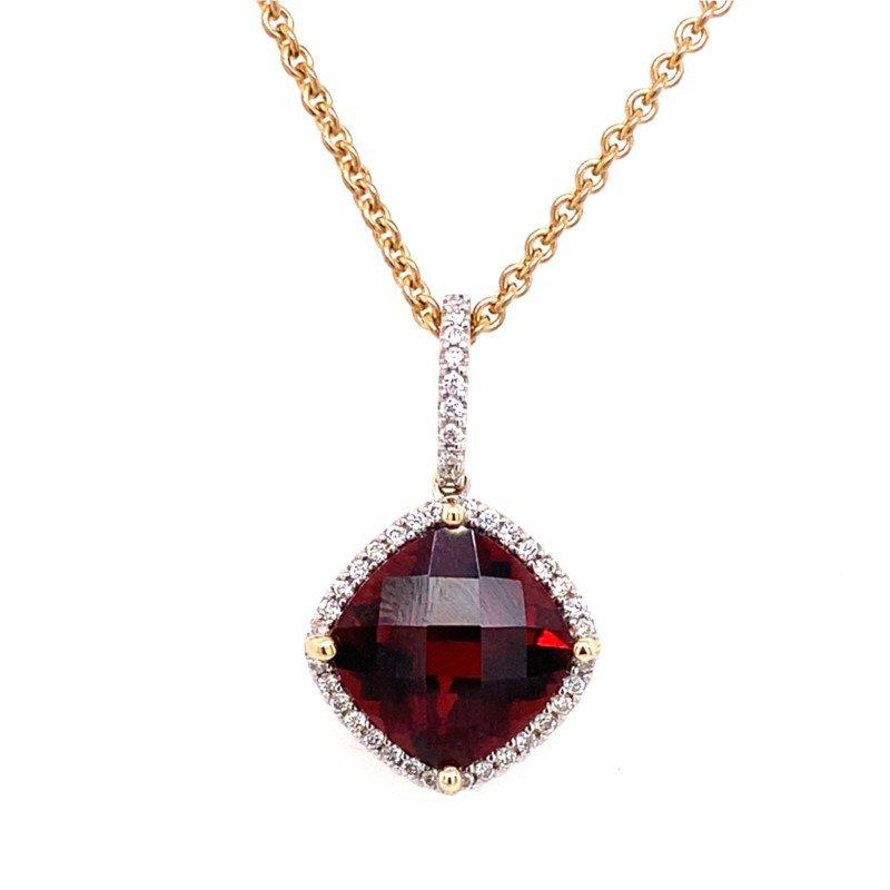 Warm Garnet and Diamond Pendant in 14 kt Gold