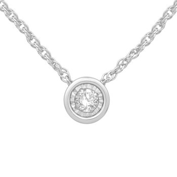 18 inch 10 karat White Gold Necklace with Bezel Diamond Setting .10ct