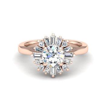 14 Karat Baguette and Round Diamond Ring Mounting