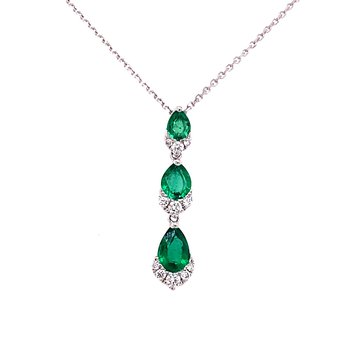 Elegant 18 Karat White Gold Three Tier Drop Pendant Set With Emeralds and Diamonds