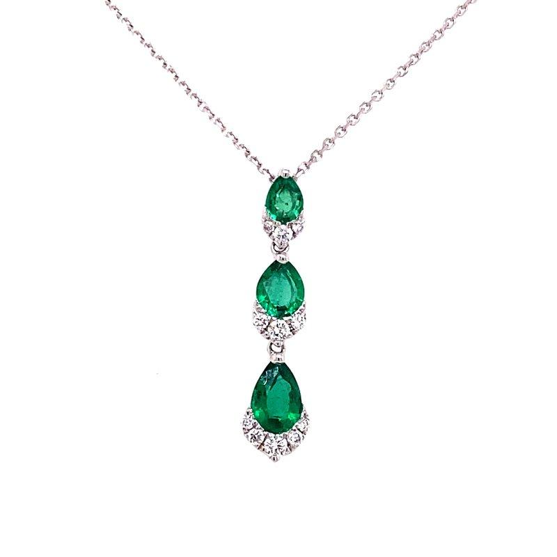 Elegant 18 Karat White Gold Three Tier Drop Pendant Set With Emeralds and Diamonds