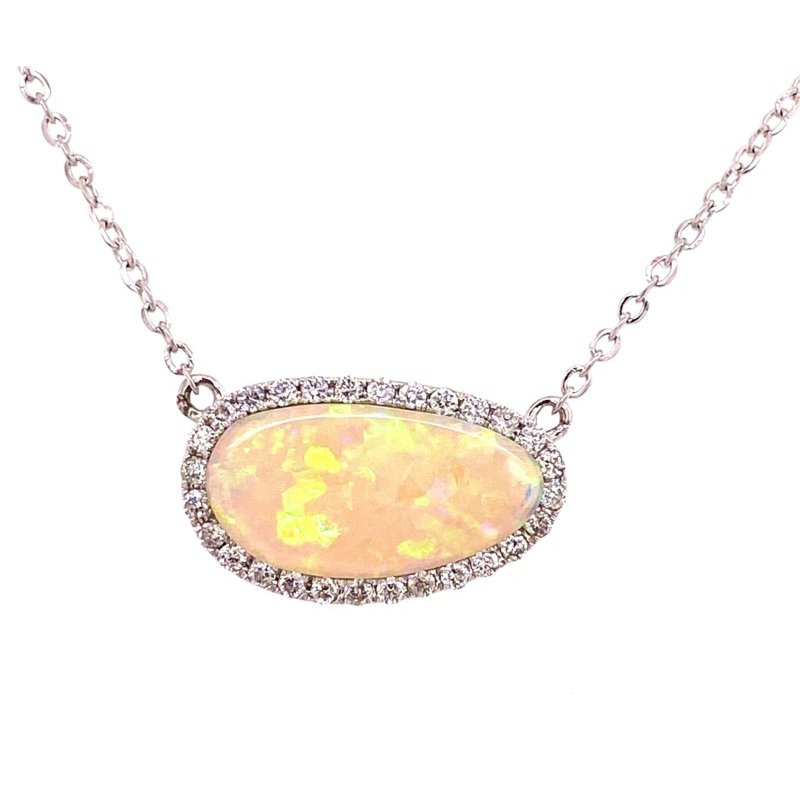 14 Karat Opal and Diamond Pendant