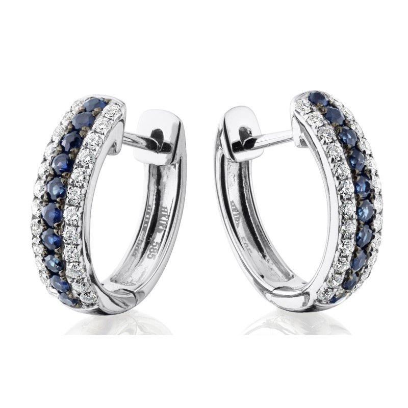 Dazzling Sapphire and Diamond Hinged Hoop Earrings