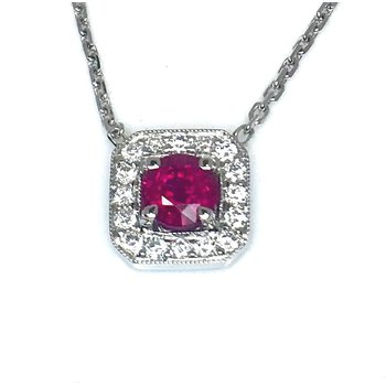 18 kt Lush Ruby and Diamond Pendant
