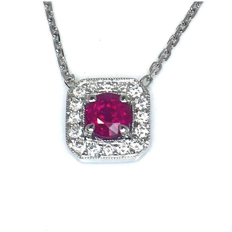 18 kt Lush Ruby and Diamond Pendant