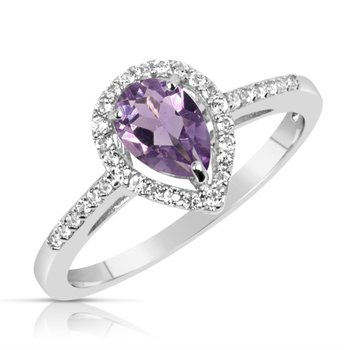 Sterling Silver Amethyst Halo Ring