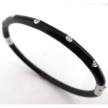 3 mm Sterling Silver and Black Enamel Bangle Bracelet Set With Diamonds