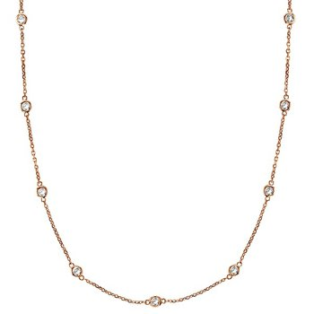 14 Karat Rose Gold 1 1/2 ct Diamond Station Necklace, 18""
