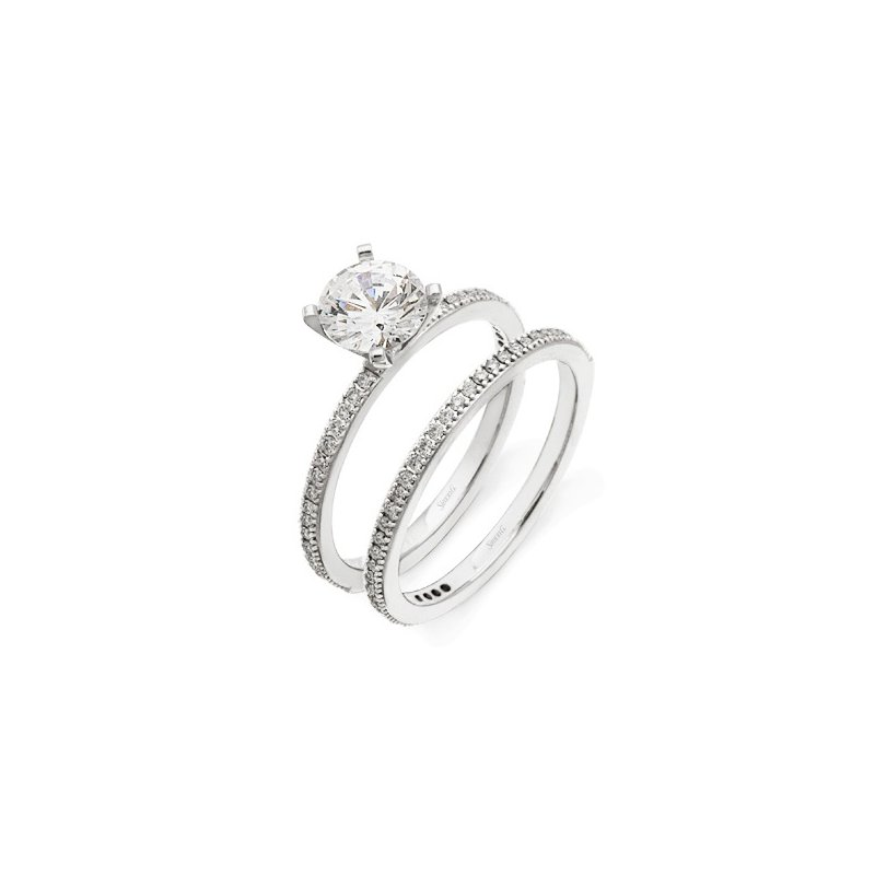 18 karat white gold band with .19 cts