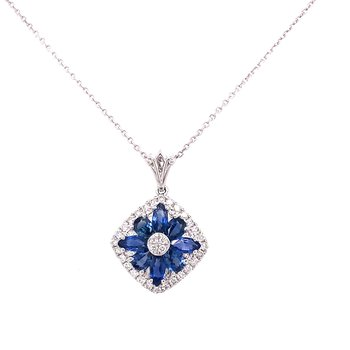 14 Karat White Gold Floral Inspired Sapphire and Diamond Pendant