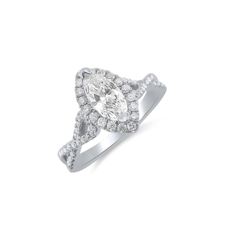 Marquise Shaped Diamond set with a Halo of Round Diamonds in Twisting  Ring