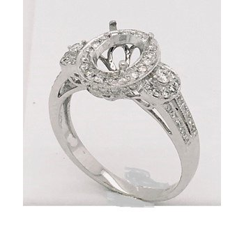Intricate White  Gold Ring Oval Diamonds Ring Mounting