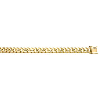 Yellow Polished 10 Karat Semi Solid Miami Cuban Link Necklace Length 24""