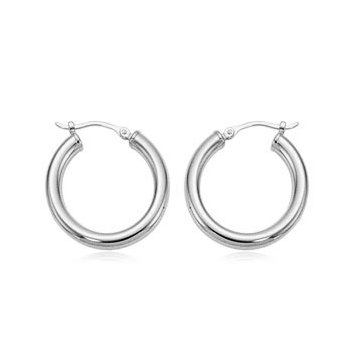 White Gold Medium Hoops