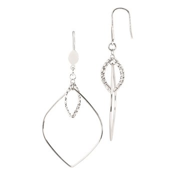 Sterling Silver Diamond Cut Diamond Shape Drop Earrings