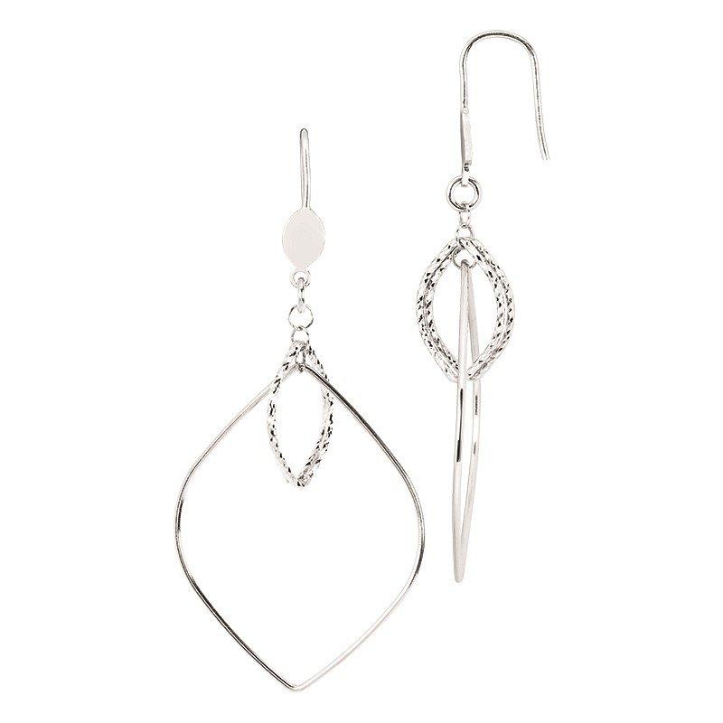 Sterling Silver Diamond Cut Diamond Shape Drop Earrings