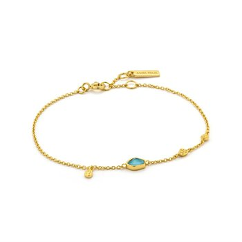 Yellow Sterling Silver Mineral Glow Turquoise Discs Bracelet