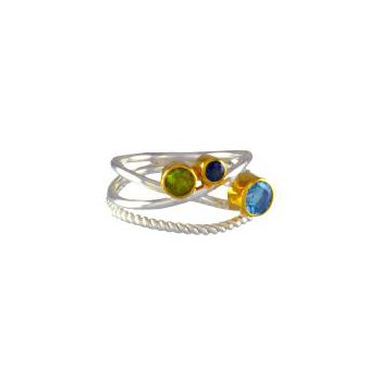 Sterling Silver Crossover Gemstone Ring