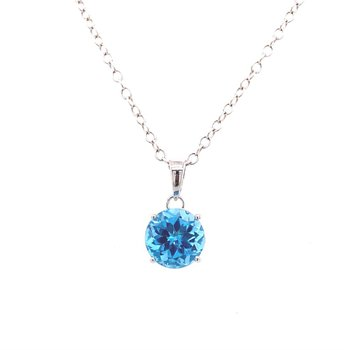 14 kt Gold Icy Blue Topaz Pendant