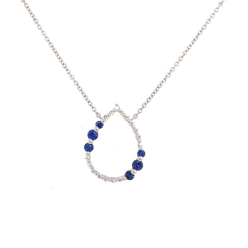 18 Karat White Gold Pear Shaped Pendant With Sapphire and Diamonds