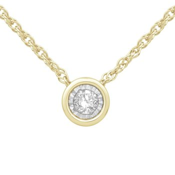 Yellow 10 Karat Bezel Set Pendant With One 0.10Ct Round Diamond chain length: 18