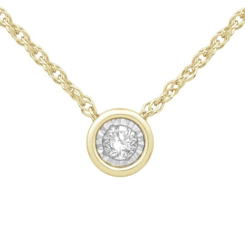 Yellow 10 Karat Bezel Set Pendant With One 0.10Ct Round Diamond chain length: 18