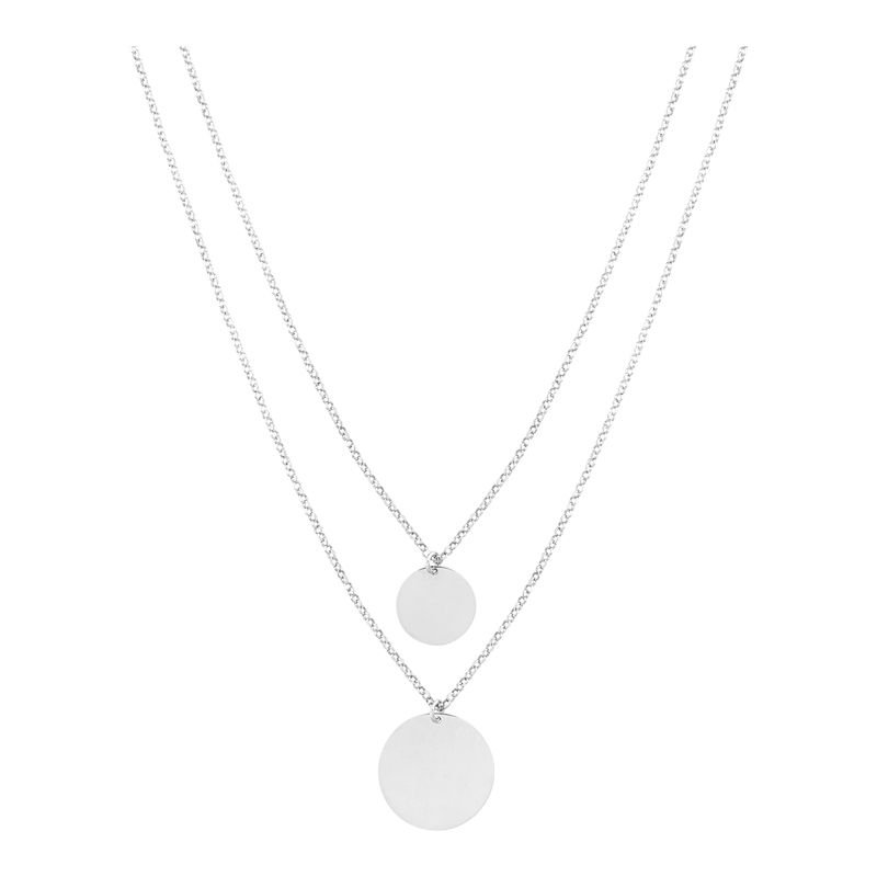 Polished Sterling Silver Double Disc Pendant