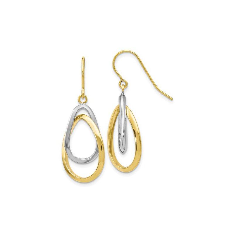 White And Yellow 14 Karat Double Drop Earrings