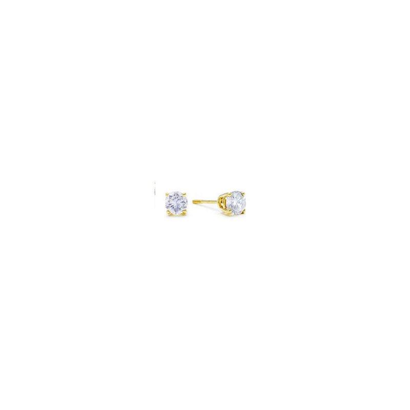 Yellow 14 Karat Stud Earrings With 2 = .46 ct Diamonds, Ideal Cut