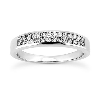 14 Karat White Gold Double Row Diamond Band