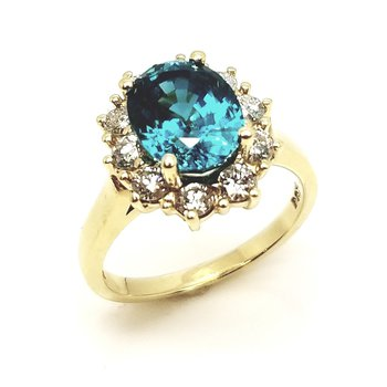 Yellow Gold Diamond And Blue Zircon Ring