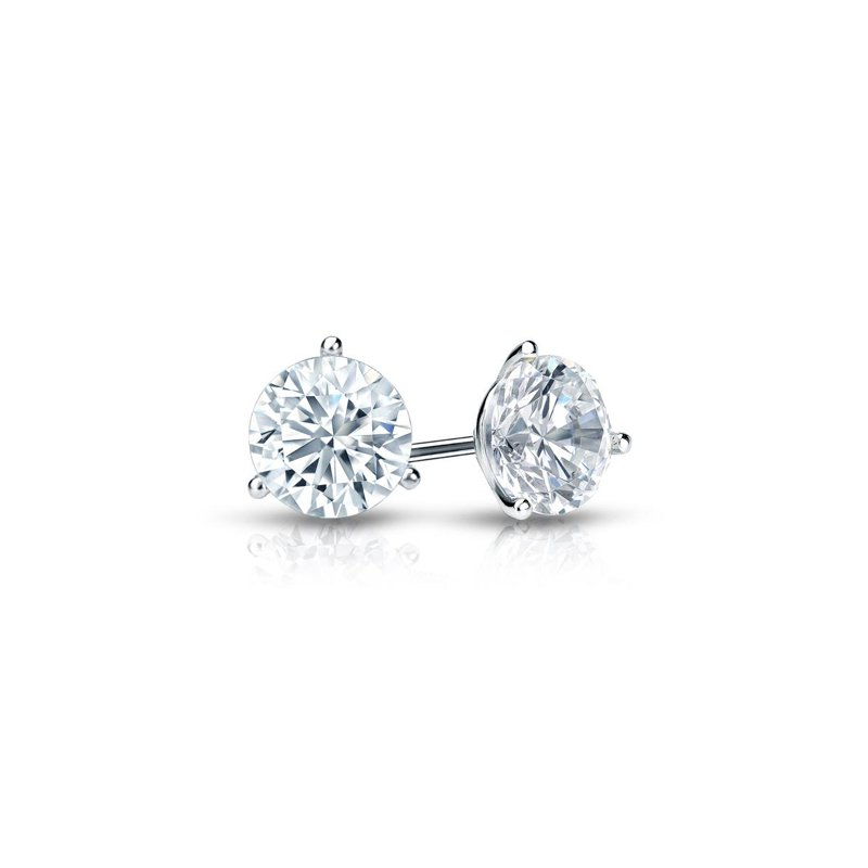 14 Karat White Gold 3 Prong Diamond Stud Earrings
