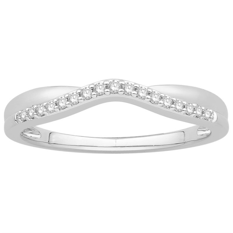 14 kt White Gold Curved Diamond Band