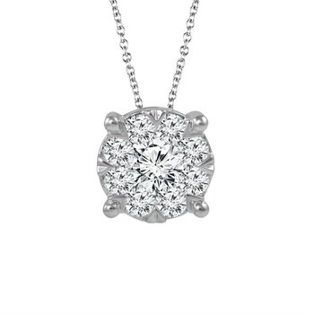 14 Karat White Gold Pave Diamond Pendant