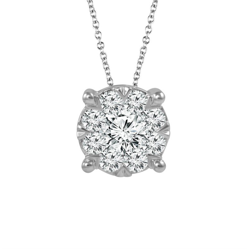 14 Karat White Gold Pave Diamond Pendant