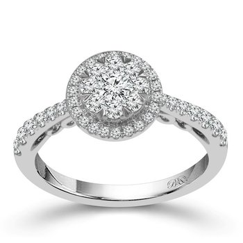 White 14 Karat Halo Ring Size 7 With 47=0.75Tw Round Diamonds