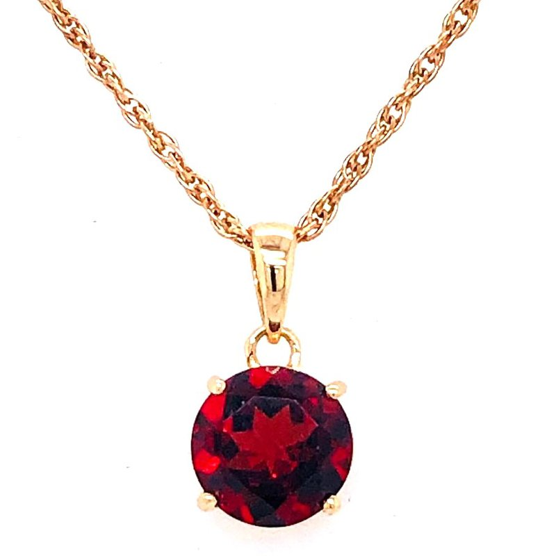 14 kt Gold Pendant with Vibrant Red Garnet