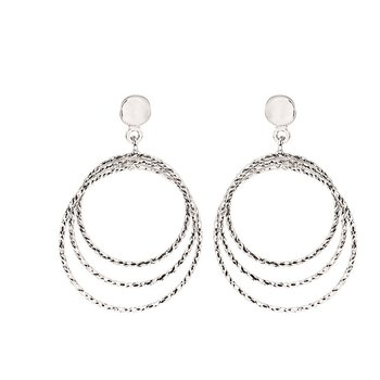 Sterling Silver Diamond Cut Graduated Circle Drops Earrings