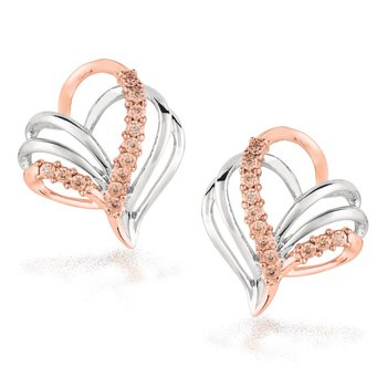 Silver Earrings with Rose Gold and Diamonds